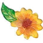 Resin Yellow Flower With Leaf