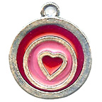 Red Heart with Pink Resin Embellishment