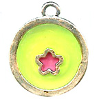 Round Green with Pink Flower Resin Embellishment
