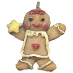 Gingerbread Man with Star Resin Embellishment