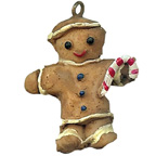 Gingerbread Man with Candy Cane Resin Embellishment