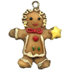 Gingerbread Man with Curls and Star Resin Embellishment