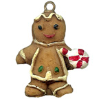Gingerbread Man with Lolly Pop Resin Embellishment