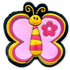 Rubber Pink Butterfly Embellishment