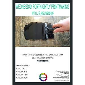Term 3 Printmaking Classes Wednesday Starting July 19th