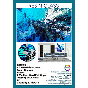 BOOKED OUT Resin Workshop Saturday 27th April 2019