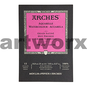 300gsm A5 12 Sheet Hot Press Arches Pad
