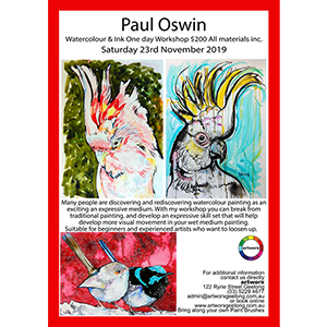 23rd November Birds Watercolour & Ink with artist Paul Oswin
