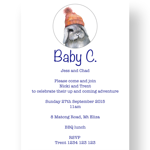 130x180mm Baby Shower Bunny Invitation Template